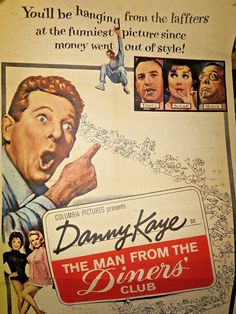"""MAN FROM THE DINERS CLUB One-Sheet Movie Poster 27""""x41"""" Good Condition 1963 Danny Kaye"""