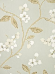 Apple Blossom Floral Wallpaper Aqua blue wallpaper with climbing apple blossom floral print in cream, white and taupe.