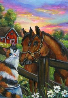 Aceo Original Calico Cat Horses Barn Sunset Miniature Painting by IM #Miniature