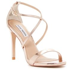 Steve Madden Floriaa Heel Sandal ($50) ❤ liked on Polyvore featuring shoes, sandals, rose gold, criss cross strap sandals, rose gold shoes, strappy sandals, steve madden and steve madden footwear #strappysandalsheels