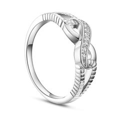SWEETIEE&reg Beautiful 925 Sterling Silver Finger Ring, with Micro Pave Cubic Zirconia Interlocking Infinity, PlatinumPSize: about 19mm inner diameter, 6mm wide; pPacking size: 53x53x37mm.