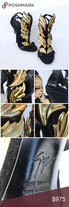 Authentic Guiseppe Zanotti 'Cruel summer' heels Selling on Ⓜ️ercari for $867  Authentic Guiseppe Zanotti 'Cruel summer' heels. Authentic Guiseppe Zanotti cruel summer heels in black. Shows signs of wear on gold embellishment And a few marks and scrapes on the back of the heels. But overall in good condition! Does not come with dust bag or box. Giuseppe Zanotti Shoes Heels