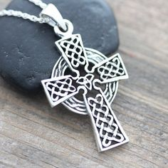 Protective Celtic cross Sterling Silver Men Cross by LifeOfSilver, $38.80