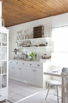 white country kitchen with wood ceiling, Mrs Jones