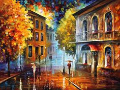 Cityscape Wall Art Brown Painting On Canvas By Leonid Afremov
