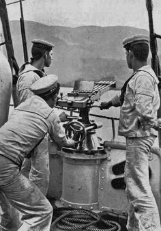 Crank operated multi barreled machine gun.Could'nt find a caption for this photograph.