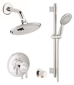 View the Grohe GSS-Atrio-DTH-03 Atrio Thermostatic Shower System with Rain Shower Head, Wall Supply, Integrated Diverter and Volume Control - Rough-In Valve Included at FaucetDirect.com.