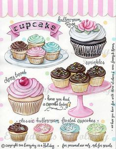"""Everyday is a Holiday — """"Cupcakes"""" Full Color Sticker Sheet"""