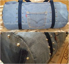 Up-cycled Levi's denim jeans Gym duffel bag/holdall with cone studs and webbing arms straps.   Side view shows removed pocket patch.