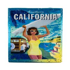 A Handmade Coaster Vintage Travel Ad - Southern Califoria - Surfer Girl, adorns this classy handcrafted coaster made with a handpainted upcycled tile.     Antique advertising art is scanned, digitally enhanced, and restored, so that this piece of history can be forever remembered and preserved within a Stella Divina coaster displayed in your home.       Coasters are:   - waterproof & alcohol proof.   - heat resistant to 200 degrees   (great for a coffee, not for a hotplate.)…