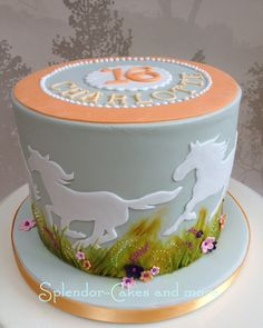 """Wild Horses for Charlotte"". I looooved doing this cake. Big credit has to go to Cynthia's Custom Cakes, whose wonderful handpainted grassy/flower idea I pretty much copied. Go check out her page, she has some wonderful work up there. Cowgirl Cakes, Western Cakes, Pretty Cakes, Beautiful Cakes, Cake Candy, Horse Birthday Parties, Cake Birthday, 13th Birthday, Charlotte Cake"