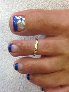 Blue French flower pedicure