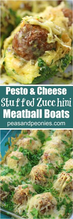Meatball Zucchini Boats are stuffed with pesto, juicy meatballs and topped with Alfredo sauce and lots of cheese, for a quick and delicious dinner or easy appetizer. #ad