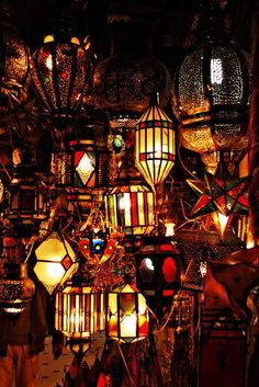 Lantern shop in Djemaa el Fna marketplace square, Marrakesh, Morocco