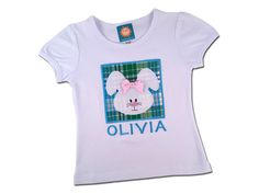 Girl's Easter Shirt with Bunny Box and Embroidered Name - P8 by SunbeamRoad on Etsy