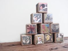Where the Wild Things Are Blocks / Book Blocks / Natural Wood Toy / Baby Shower Gift / Storybook Blocks / Personalize / Birthday - set of 10...
