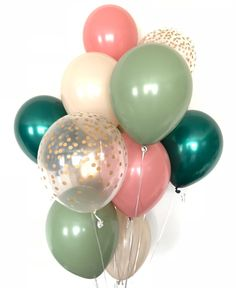 Verde e Rosa Balloons Green Party Decorations, Baby Shower Decorations For Boys, Bridal Shower Decorations, Baby Shower Themes, Girl Babyshower Themes, Baby Shower Parties, Shower Ideas, Balloon Lights, Pink Balloons