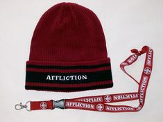 a064d3d477b Affliction Maroon Knit Cuff Beanie Hat Stocking Cap Winter Ski Hat PLUS  Lanyard  fashion  clothing  shoes  accessories  mensaccessories  hats (ebay  link)