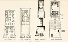 Plans of various Egyptian temples