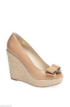 Michael Kors Meg Khaki Espadrille Wedge Sandals Leather Shoes 7, 8 $150 NIB NEW #MichaelKors #PlatformsWedges