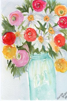 love all these flower arrangements in blue mason or ball jars - had to paint some