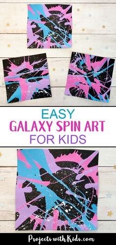 This galaxy spin painting art project is out of this world! Spin art is such a f… This galaxy spin painting art project is out of this world! Spin art is such a fun process art technique that kids of all ages love. Arts And Crafts For Teens, Art And Craft Videos, Easy Arts And Crafts, Kids Crafts, Space Crafts For Kids, Painting Activities, Art Activities For Kids, Arts And Crafts Movement, Painting For Kids