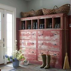great vintage painted piece, perfect for a mudroom
