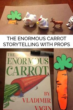 Create your own storytelling props for the classic Kindergarten tale of The Enormous Carrot by Vladmir Vagin and help children with reading comprehension. Preschool Garden, Preschool Literacy, Preschool Books, Kindergarten Classroom, Literacy Bags, Preschool Plans, Emergent Literacy, Eyfs Classroom, Preschool Centers