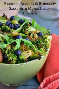 Broccoli, Arugula and Blueberry Salad with Meyer Lemon Dressing #glutenfree