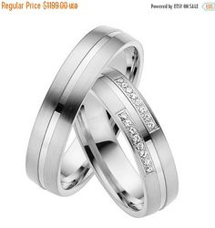 ON SALE Unique Matching Wedding Bands With Diamonds 14K White Gold