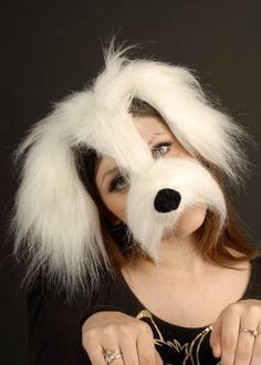 White Shaggy Dog Mask On Headband (struts-6711): Amazon.co.uk: Toys & Games