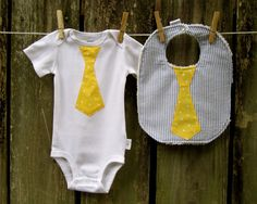 Neck tie onesie and bib set in yellow polka dot and blue stripes