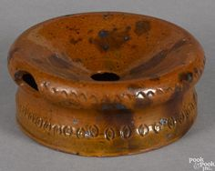 Small Pennsylvania redware spittoon, 19th c., with manganese splash and incised coggle rim - Price Estimate: $200 - $300