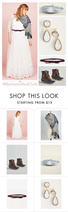 """""""Winter Forest Wedding"""" by modcloth ❤ liked on Polyvore featuring Sperry"""
