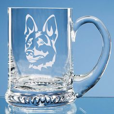 German Shepherd Dog Lover Gift Personalised Handmade Glass Tankard - Add Name and Message - Birthday Gift, Father's Day Gift, Christmas Gift