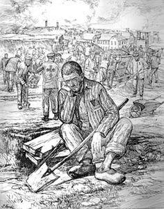 drawing by Auschwitz survivor Jan Komski (Polish, 1915-2002)