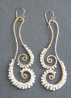 Cosmopolitan 71 Hammered swirl earrings with by CalicoJunoJewelry, $94.00