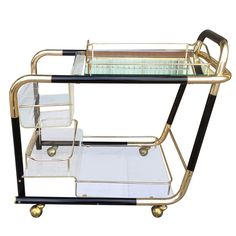 1950's Italian Bar-Cart  in Brass and Lucite | From a unique collection of antique and modern bar carts at http://www.1stdibs.com/furniture/tables/bar-carts/