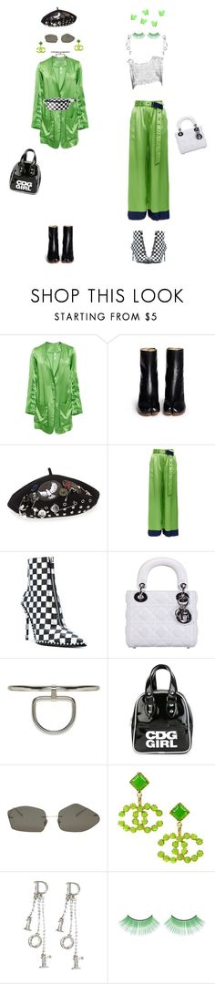 """""""the grinch as questionable fashion choices"""" by sea-iris ❤ liked on Polyvore featuring Adam Selman, Maison Margiela, Marc by Marc Jacobs, Alexander Wang, Christian Dior, Alyx, Comme des Garçons GIRL, Acne Studios and Chanel"""