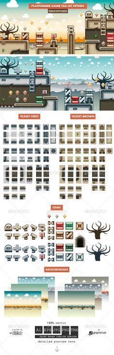 Platformer Game Tile Set Fifteen - Tilesets Game Assets
