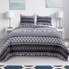 Shop for Barefoot Bungalow Native Indigo Reversible Quilt Set. Get free delivery On EVERYTHING* Overstock - Your Online Fashion Bedding Store! King Quilt Sets, Queen Quilt, Quilted Pillow Shams, Quilted Bedspreads, Bungalow, Most Comfortable Sheets, Geometric Quilt, Online Bedding Stores, Linen Bedroom