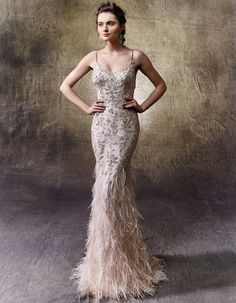 Glam wedding dress idea - mermaid gown with flowy and delicate ostrich feathers on soft tulle skirt - classic V-neckline and thin beaded spaghetti straps. Style Leonie by wedding dresses romantic Enzoani Wedding Dresses, Enzoani Photos Wedding Dress With Feathers, Wedding Dresses With Straps, Feather Dress, White Wedding Dresses, Mermaid Gown, Mermaid Dresses, Prom Dresses, Lace Mermaid, Dresses Dresses