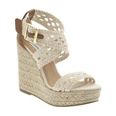Like the style of this crocheted wedge shoe with ankle strap...would look good with jeans, skirts or maxi dresses...This Espadrille shoe is definitely my style.   Steve Madden Wedge Espadrilles $39.99