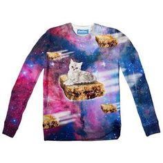 """""""Soaring through the galaxy at breakneck speeds, this kitty is an expert PB&J pilot! Galaxy Cat, Youth, Kitty, Sweatshirts, Cats, Fabric, Prints, Pilot, Sweaters"""