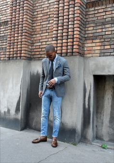 047930550bcf thepuertoricansocialclub  Washed denim. What a clean casual look Blazer  With Jeans