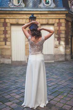 Mathilde Marie - Création de robes de mariée - Collection#2 - Ensemble top Claudia + jupe Noélie - Photo: Camille Marciano