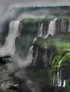 Iguazu Falls in the morning mist, Argentina/Brazil
