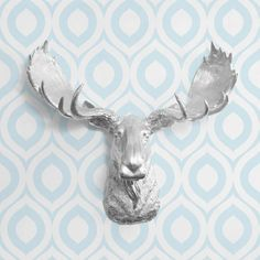 The Alberta in Silver - Faux Moose Head Fake Taxidermy Resin Animal Decor Decorative Ceramic Mount Plastic Wall Replica Mounted Fauxidermy on Etsy, $93.75 AUD