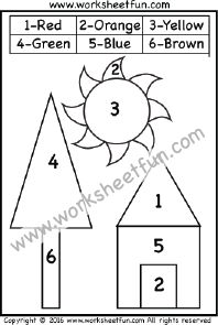 Color by Number – Shapes – Circle, Triangle, Square, Rectangle – One Worksheet