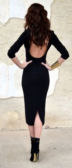 Street style backless flattering black dress.